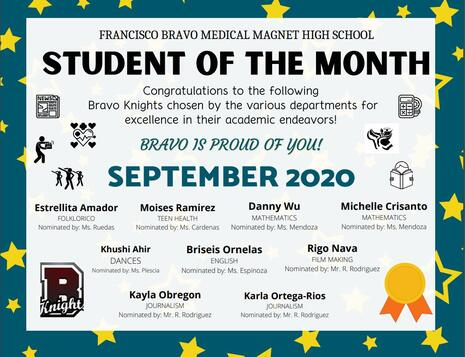 HIGH-FIVE TO OUR SEPTEMBER 2020 STUDENTS OF THE MONTH!
